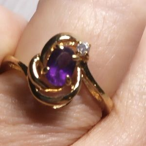 Vintage Amethyst Diamond Ring Size7